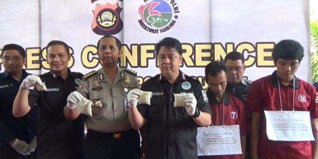 Confrensi pers terkait hasil penanganan narkoba.